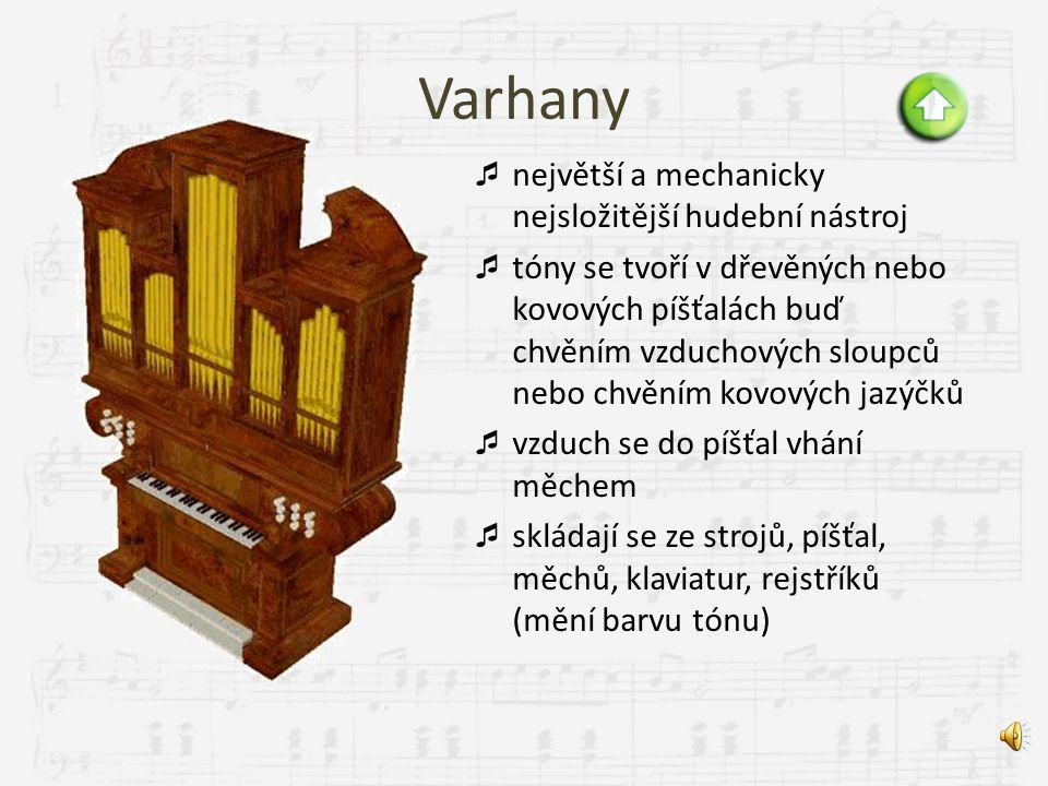 Klavír  vznikl v 18. století z cembala, z potřeby hrát silně i slabě  zvuk vzniká chvěním strun rozkmitaných úderem dřevěných kladívek  skládá se z