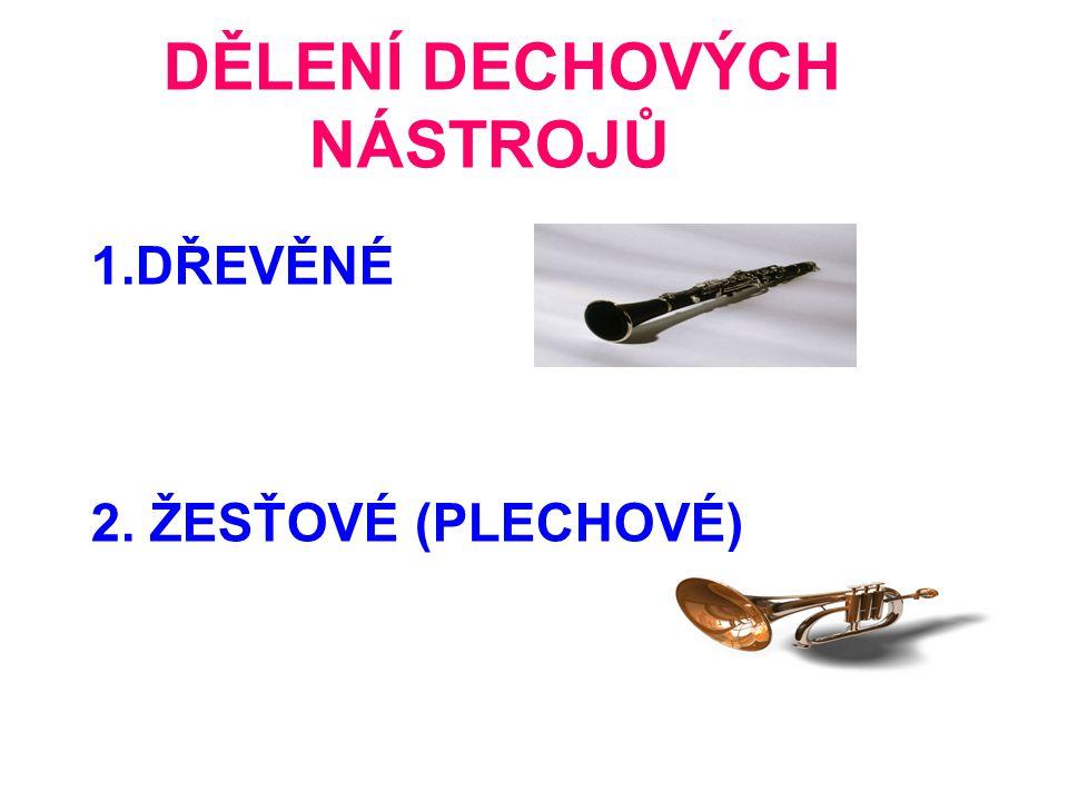 DĚLENÍ DECHOVÝCH NÁSTROJŮ 1.DŘEVĚNÉ 2. ŽESŤOVÉ (PLECHOVÉ)