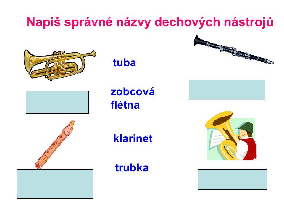 Napiš správné názvy dechových nástrojů tuba zobcová flétna klarinet trubka