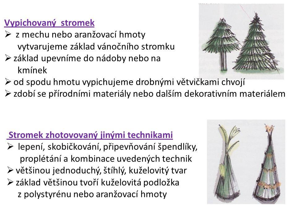 Vypichovaný stromek  z mechu nebo aranžovací hmoty vytvarujeme základ vánočního stromku  základ upevníme do nádoby nebo na kmínek  od spodu hmotu v