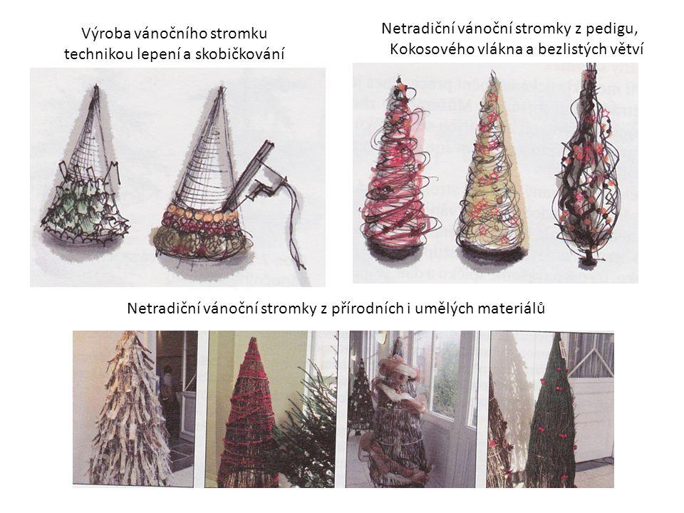 Vánoční svícen Klasický vánoční svícen  jednoramenné, dvouramenné, trojramenné nebo víceramenné  základem drátěná kostra, připevněná na dřevěné podložce  konstrukci obalíme mechem, ovineme drátem na cívce  nastříhané větvičky chvojí připevňujeme na mechovou konstrukci skobičkami nebo drátem  dřevěnou podložku zakryjeme chvojím  zdobíme drobným ovocem, plody okrasných keřů, umělými přízdobami