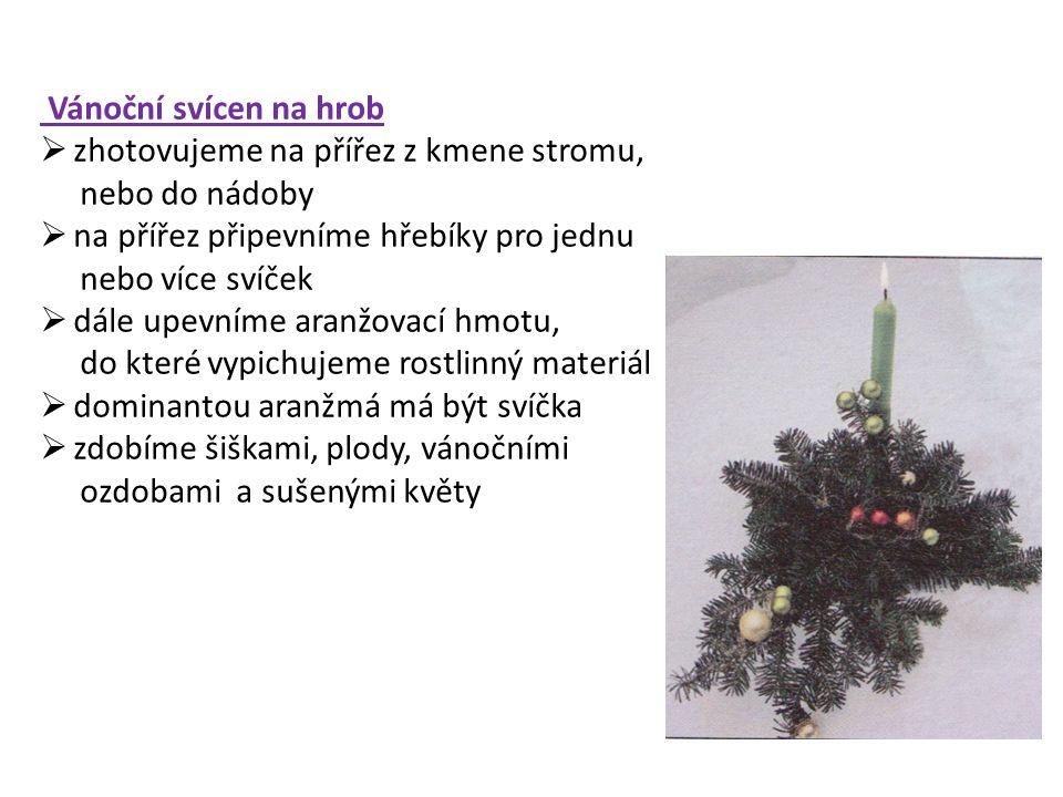 Vánoční svícen do interieru  rozmanitý a originální podle použité techniky, nádoby i materiálu  nejčastěji se zhotovují vypichováním a lepením  základ je tvořen nádobou různého tvaru, do níž je umístěna aranžovací hmota  jednu nebo více svíček upevníme na vidlici z drátu, nebo do speciálního držáku na svíčky  vypícháme rostlinným materiálem  přizdobíme stuhami, plody, sušenými rostlinami, sušeným ovocem, různými vánočními přízdobami Pracovní postup výroby svícnu do misky technikou vypichování