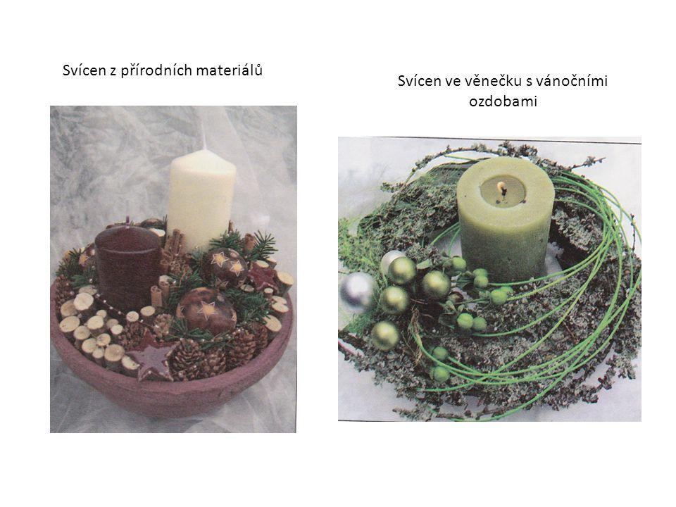 Svícen z přírodních materiálů Svícen ve věnečku s vánočními ozdobami