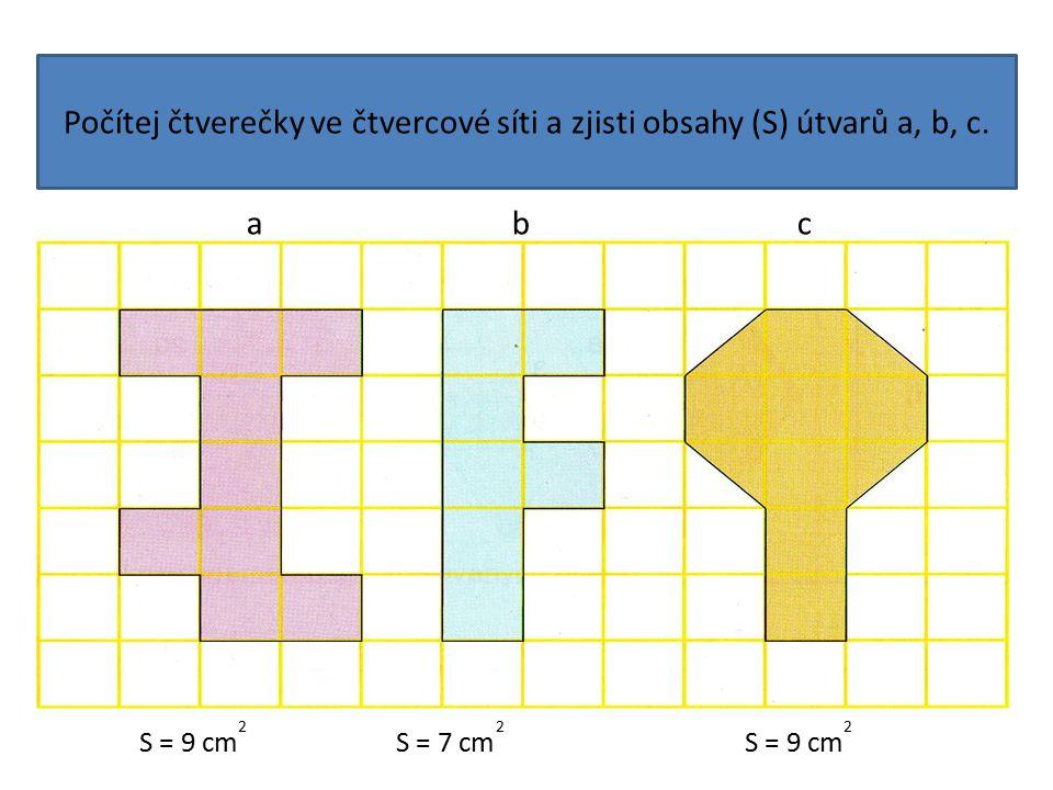 Počítej čtverečky ve čtvercové síti a zjisti obsahy (S) útvarů a, b, c. a b c S = 9 cm 2 S = 7 cm 2 S = 9 cm 2
