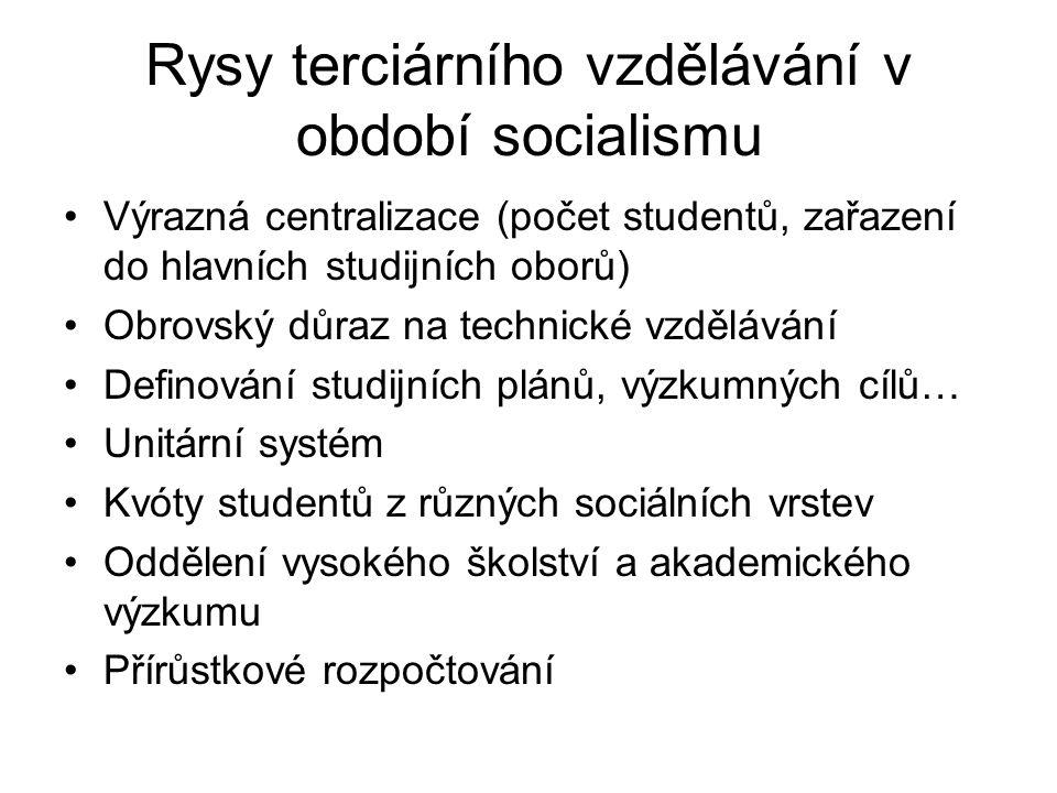 Rysy terciárního vzdělávání v období socialismu Výrazná centralizace (počet studentů, zařazení do hlavních studijních oborů) Obrovský důraz na technic