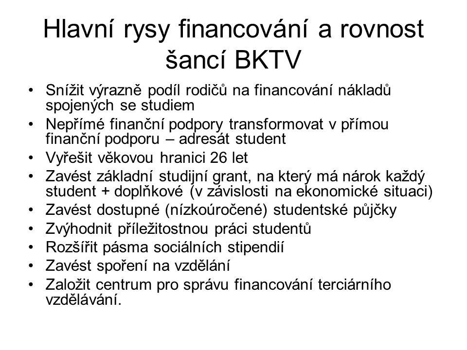Hlavní rysy financování a rovnost šancí BKTV Snížit výrazně podíl rodičů na financování nákladů spojených se studiem Nepřímé finanční podpory transfor