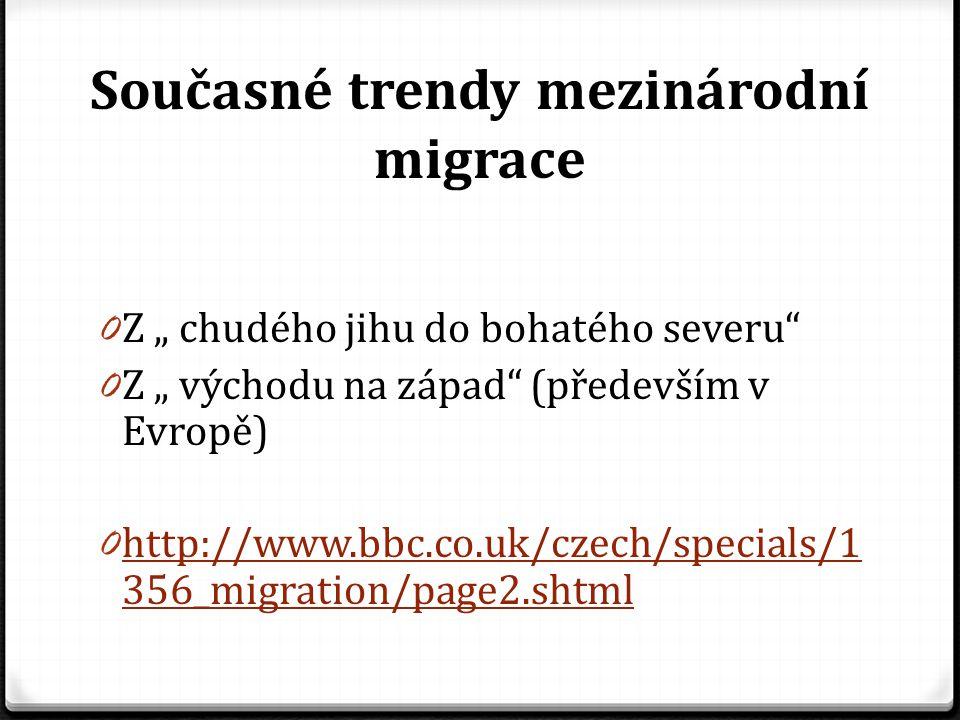 """Současné trendy mezinárodní migrace 0 Z """" chudého jihu do bohatého severu"""" 0 Z """" východu na západ"""" (především v Evropě) 0 http://www.bbc.co.uk/czech/s"""