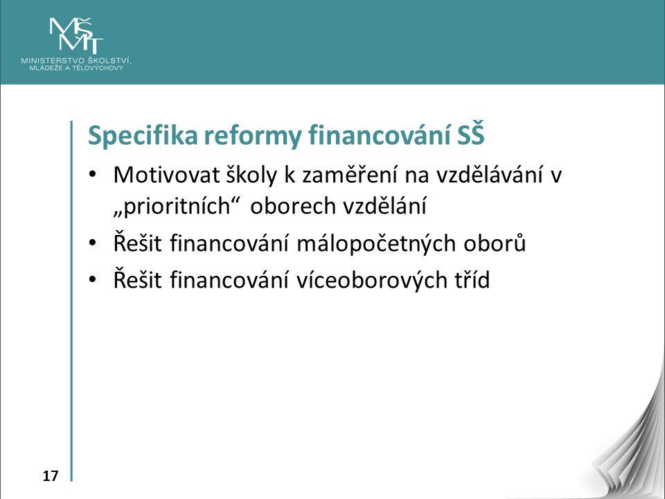 """17 Specifika reformy financování SŠ Motivovat školy k zaměření na vzdělávání v """"prioritních oborech vzdělání Řešit financování málopočetných oborů Řešit financování víceoborových tříd"""