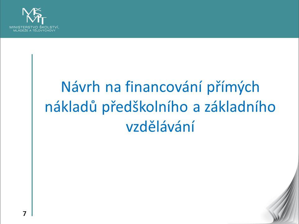 8 Tři oblasti financování přímých nákladů z prostředků MŠMT A)Financování ONIV B)Financování nepedagogické práce C)Financování pedagogické práce