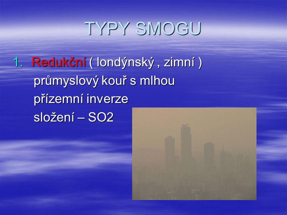 2.O xidační ( kalifornský, letní ) dráždivý, agresivní a toxický škodlivé účinky ( sliznice, dýchací cesty, oči )