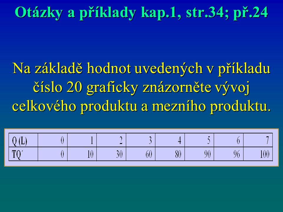 Otázky a příklady kap.1, str.34; př.24 Na základě hodnot uvedených v příkladu číslo 20 graficky znázorněte vývoj celkového produktu a mezního produktu