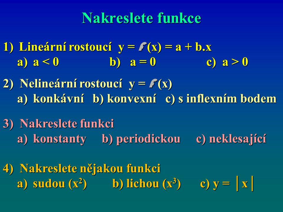 Nakreslete funkce 1)Lineární rostoucí y = F (x) = a + b.x a)a 0 2) Nelineární rostoucí y = F (x) a)konkávní b) konvexní c) s inflexním bodem 3) Nakres