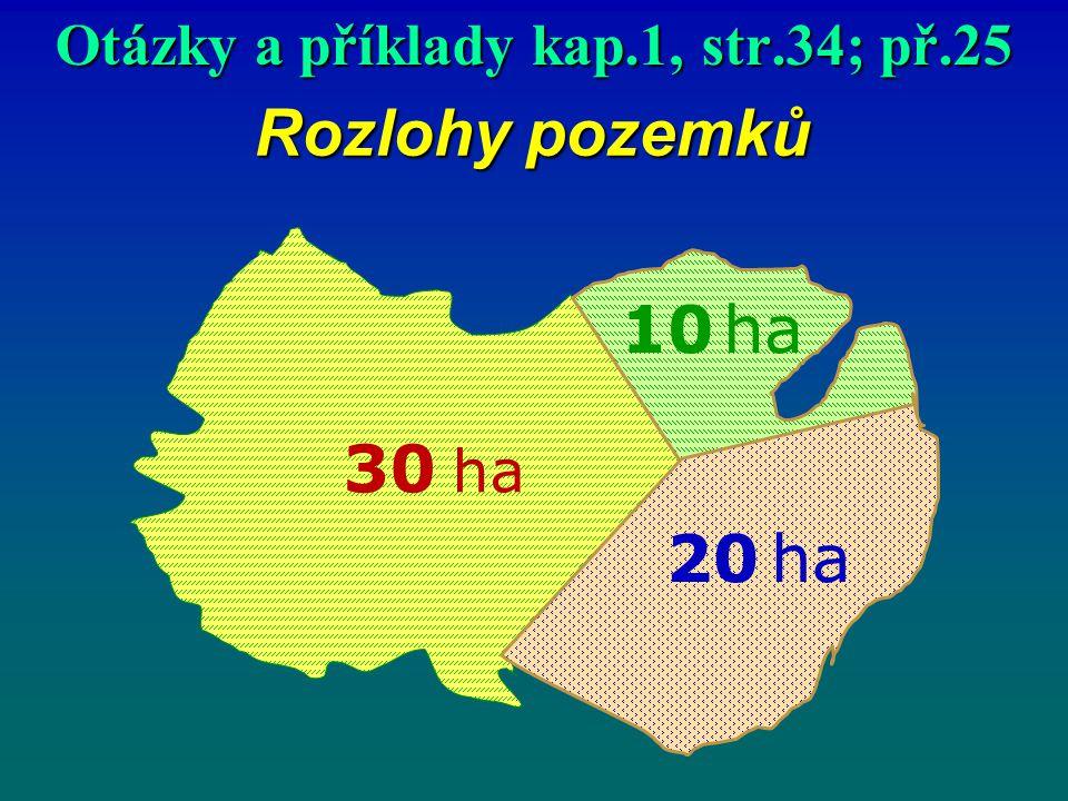 Rozlohy pozemků 30 ha 20 ha 10 ha Otázky a příklady kap.1, str.34; př.25