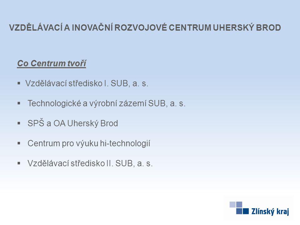 Co Centrum tvoří  Vzdělávací středisko I. SUB, a. s.  Technologické a výrobní zázemí SUB, a. s.  SPŠ a OA Uherský Brod  Centrum pro výuku hi-techn