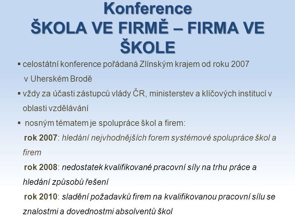 Konference ŠKOLA VE FIRMĚ – FIRMA VE ŠKOLE  celostátní konference pořádaná Zlínským krajem od roku 2007 v Uherském Brodě  vždy za účasti zástupců vl