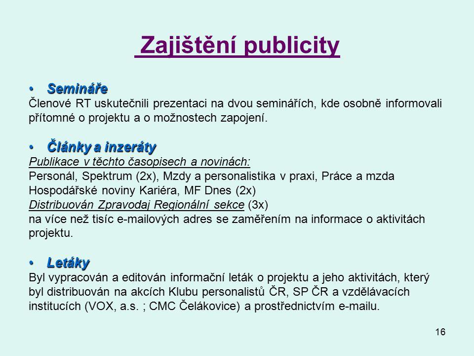 16 Zajištění publicity SeminářeSemináře Členové RT uskutečnili prezentaci na dvou seminářích, kde osobně informovali přítomné o projektu a o možnostech zapojení.