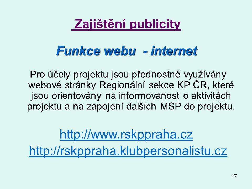 17 Zajištění publicity Funkce webu - internet Pro účely projektu jsou přednostně využívány webové stránky Regionální sekce KP ČR, které jsou orientovány na informovanost o aktivitách projektu a na zapojení dalších MSP do projektu.