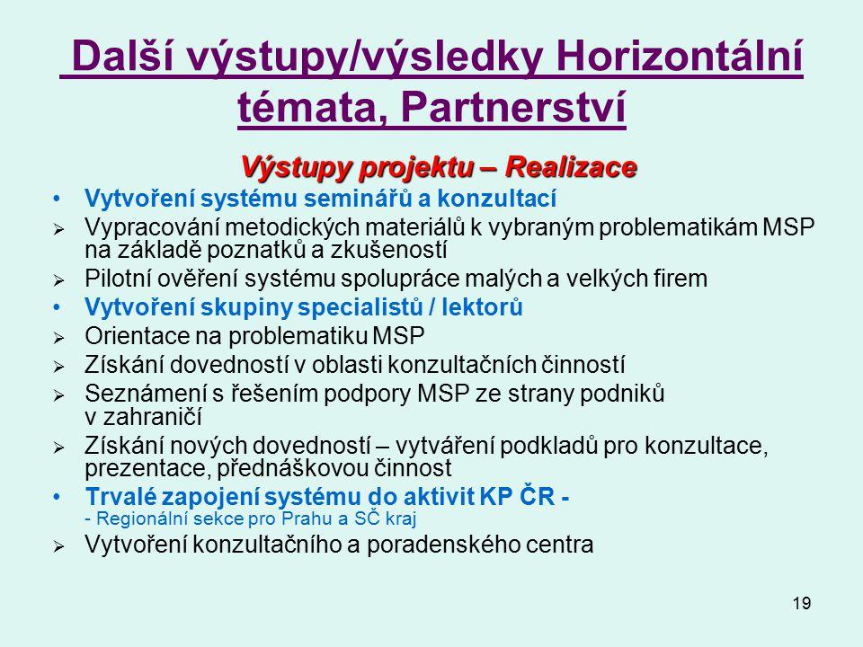 19 Další výstupy/výsledky Horizontální témata, Partnerství Výstupy projektu – Realizace Vytvoření systému seminářů a konzultací  Vypracování metodick