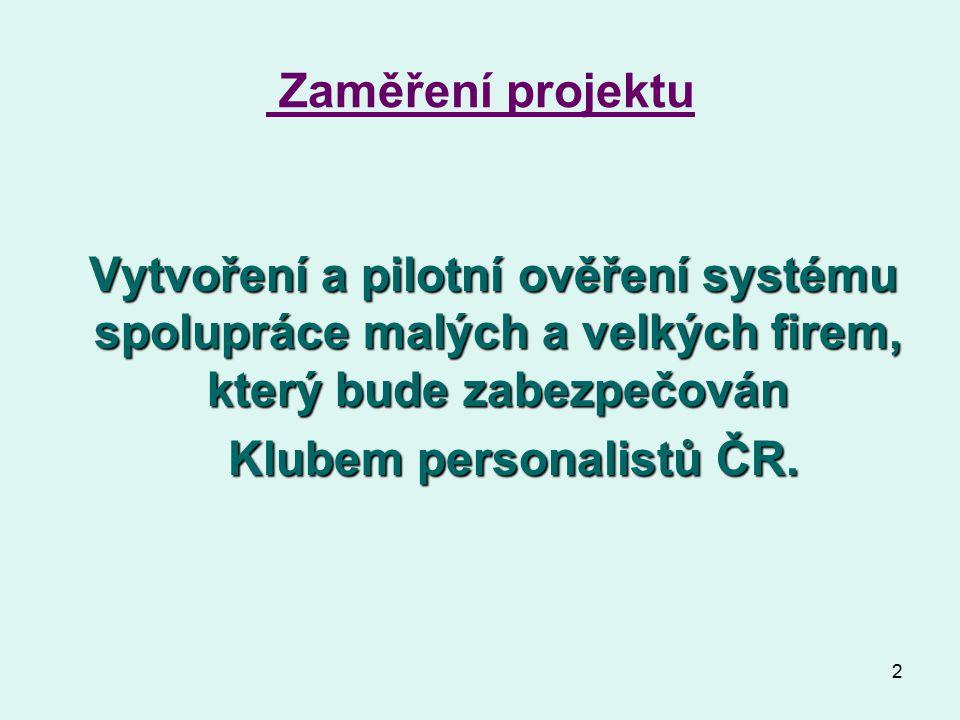 2 Zaměření projektu Vytvoření a pilotní ověření systému spolupráce malých a velkých firem, který bude zabezpečován Vytvoření a pilotní ověření systému spolupráce malých a velkých firem, který bude zabezpečován Klubem personalistů ČR.