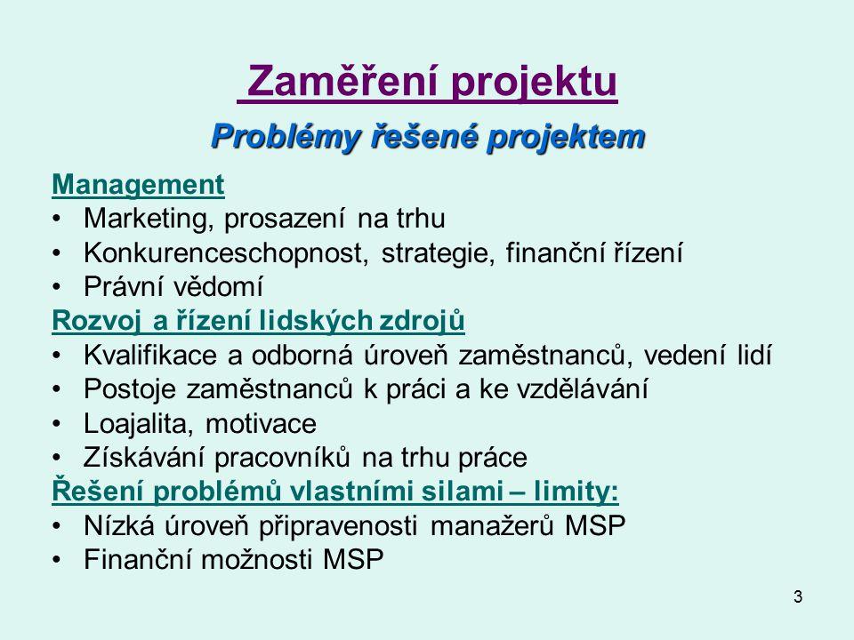 3 Zaměření projektu Problémy řešené projektem Management Marketing, prosazení na trhu Konkurenceschopnost, strategie, finanční řízení Právní vědomí Ro