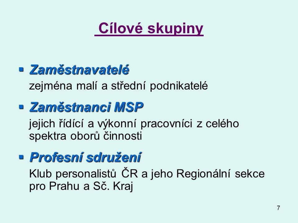 7 Cílové skupiny  Zaměstnavatelé zejména malí a střední podnikatelé  Zaměstnanci MSP jejich řídící a výkonní pracovníci z celého spektra oborů činnosti  Profesní sdružení Klub personalistů ČR a jeho Regionální sekce pro Prahu a Sč.