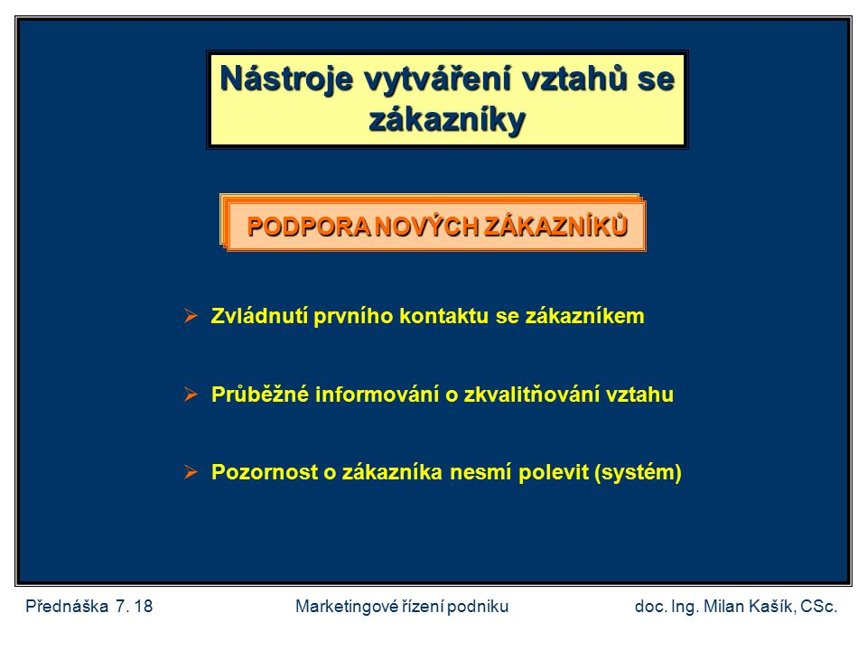Přednáška 7.18doc. Ing. Milan Kašík, CSc.