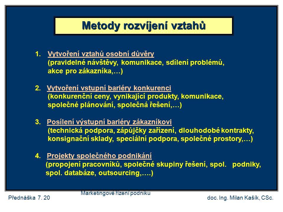 Přednáška 7.20doc. Ing. Milan Kašík, CSc. Metody rozvíjení vztahů 1.