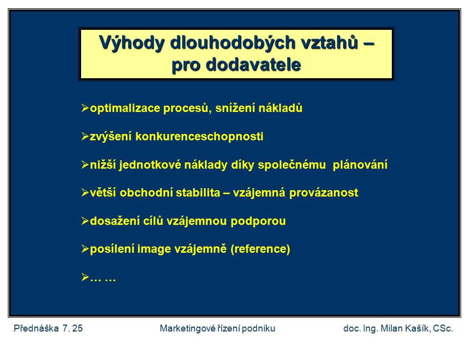 Přednáška 7.25doc. Ing. Milan Kašík, CSc.