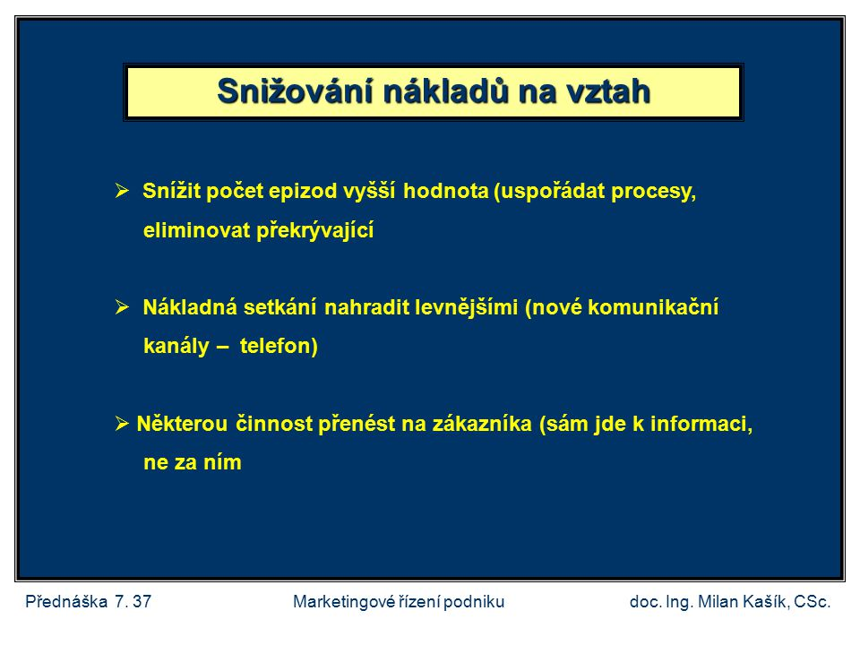 Přednáška 7.37doc. Ing. Milan Kašík, CSc.