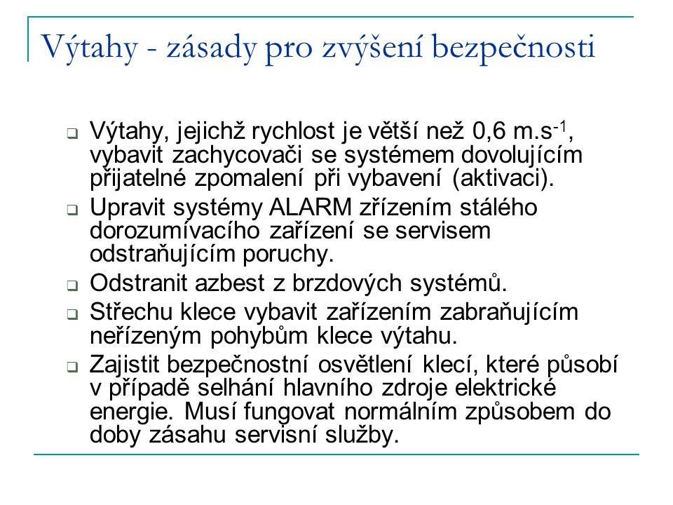 Výtahy - zásady pro zvýšení bezpečnosti  Výtahy, jejichž rychlost je větší než 0,6 m.s -1, vybavit zachycovači se systémem dovolujícím přijatelné zpomalení při vybavení (aktivaci).