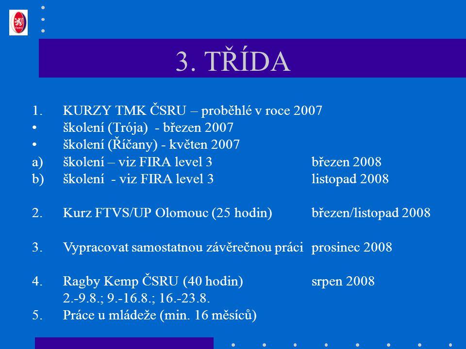 3. TŘÍDA 1.KURZY TMK ČSRU – proběhlé v roce 2007 školení (Trója) - březen 2007 školení (Říčany) - květen 2007 a)školení – viz FIRA level 3březen 2008