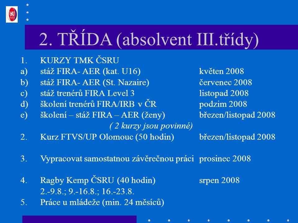 2. TŘÍDA (absolvent III.třídy) 1.KURZY TMK ČSRU a)stáž FIRA- AER (kat. U16)květen 2008 b)stáž FIRA- AER (St. Nazaire)červenec 2008 c)stáž trenérů FIRA