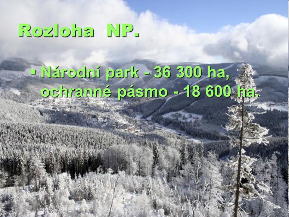 Rozloha NP.  Národní park - 36 300 ha, ochranné pásmo - 18 600 ha.
