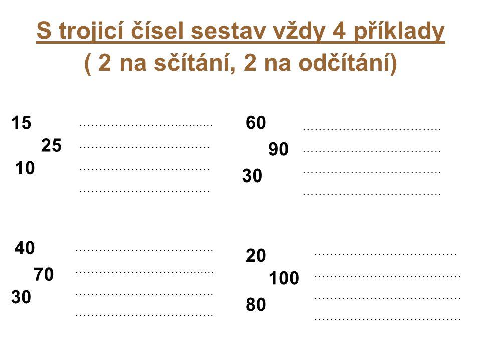 S trojicí čísel sestav vždy 4 příklady ( 2 na sčítání, 2 na odčítání) 15 25 10 ……………………...........