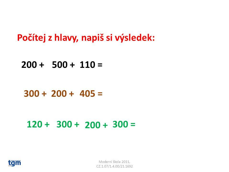 Moderní škola 2011, CZ.1.07/1.4.00/21.1692 Počítej z hlavy, napiš si výsledek: 200 +500 +110 = 300 +200 +405 = 120 +300 + 200 + 300 =