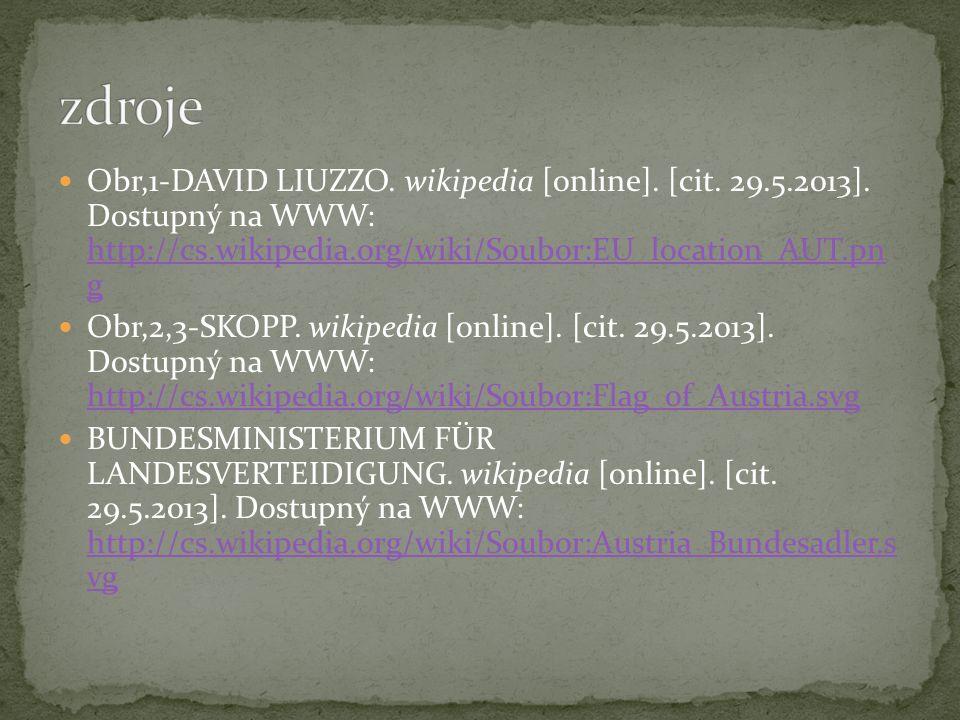 Obr,1-DAVID LIUZZO. wikipedia [online]. [cit. 29.5.2013]. Dostupný na WWW: http://cs.wikipedia.org/wiki/Soubor:EU_location_AUT.pn g http://cs.wikipedi