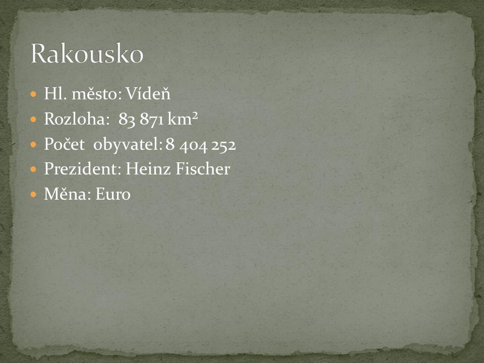 Hl. město: Vídeň Rozloha: 83 871 km² Počet obyvatel: 8 404 252 Prezident: Heinz Fischer Měna: Euro
