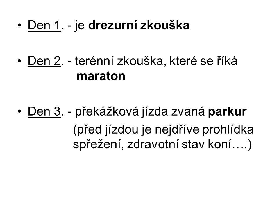 Den 1. - je drezurní zkouška Den 2. - terénní zkouška, které se říká maraton Den 3. - překážková jízda zvaná parkur (před jízdou je nejdříve prohlídka