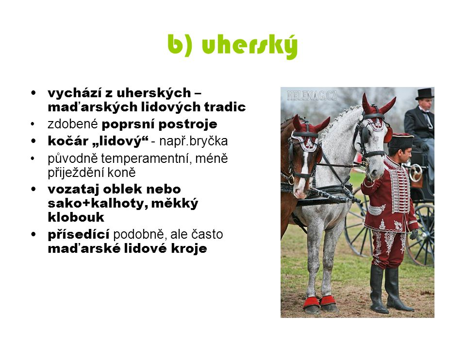 """b) uherský vychází z uherských – maďarských lidových tradic zdobené poprsní postroje kočár """"lidový"""" - např.bryčka původně temperamentní, méně přiježdě"""