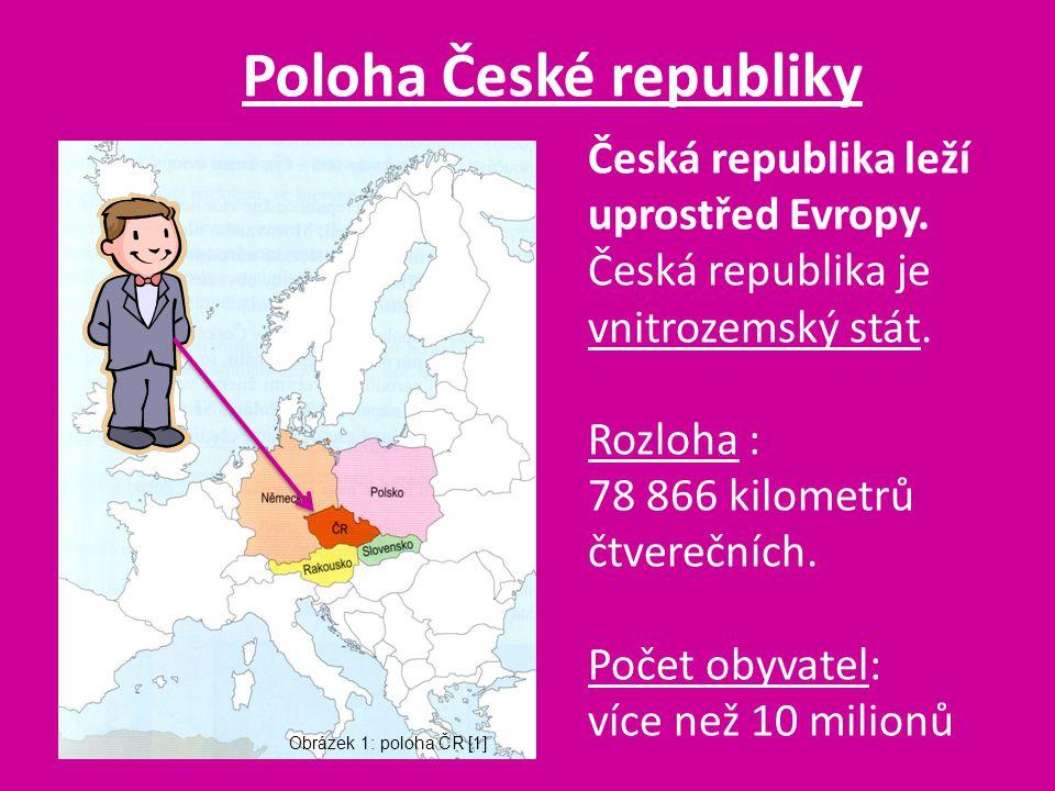 Poloha České republiky Česká republika leží uprostřed Evropy. Česká republika je vnitrozemský stát. Rozloha : 78 866 kilometrů čtverečních. Počet obyv