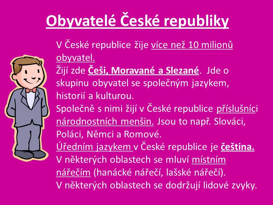 Obyvatelé České republiky V České republice žije více než 10 milionů obyvatel. Žijí zde Češi, Moravané a Slezané. Jde o skupinu obyvatel se společným
