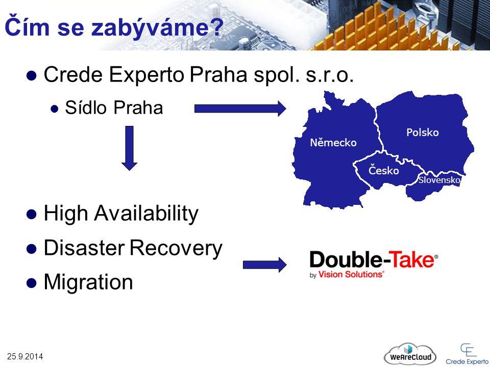 Čím se zabýváme? Crede Experto Praha spol. s.r.o. Sídlo Praha High Availability Disaster Recovery Migration 25.9.2014