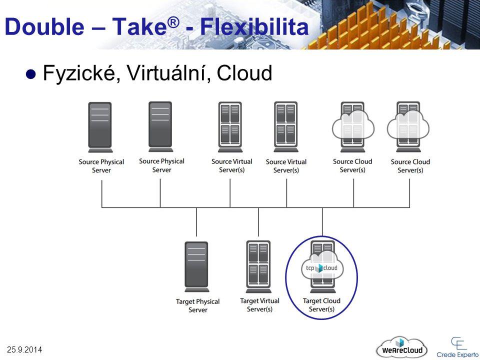 Double – Take ® - Flexibilita 25.9.2014 Fyzické, Virtuální, Cloud