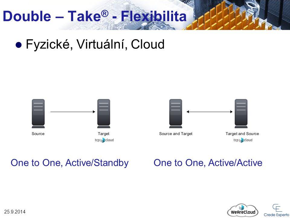 Double – Take ® - Flexibilita 25.9.2014 Fyzické, Virtuální, Cloud Many to One One to Many