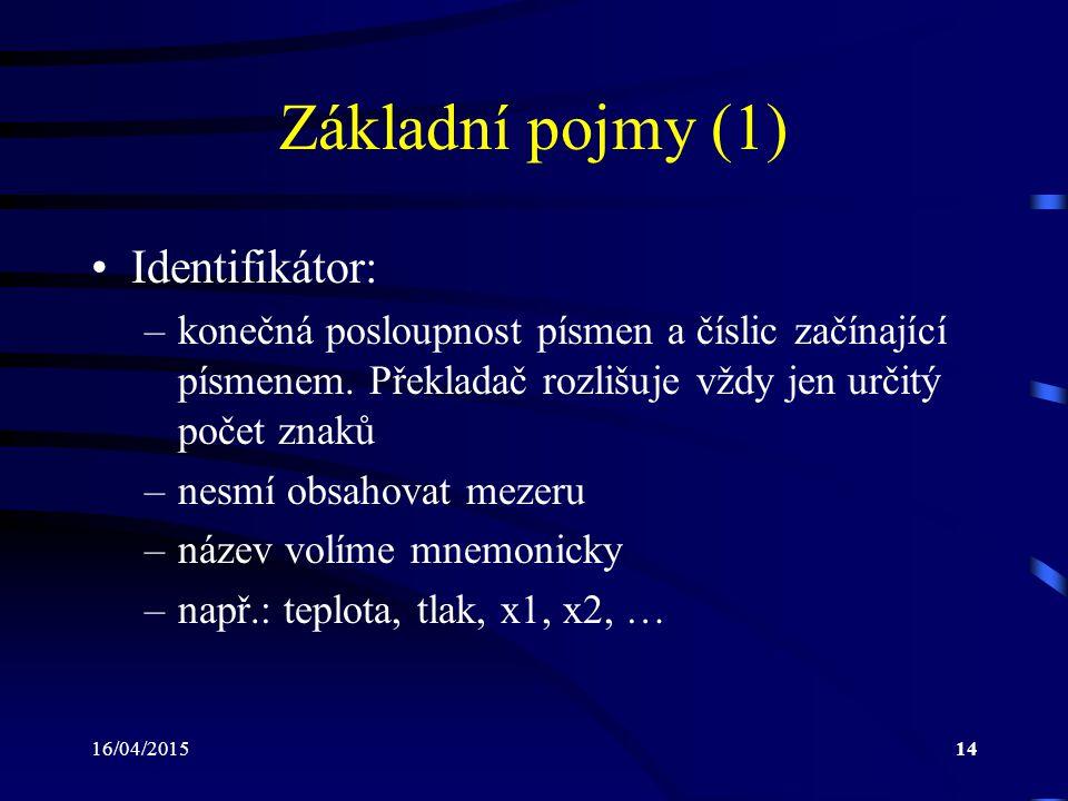 16/04/201514 Základní pojmy (1) Identifikátor: –konečná posloupnost písmen a číslic začínající písmenem. Překladač rozlišuje vždy jen určitý počet zna