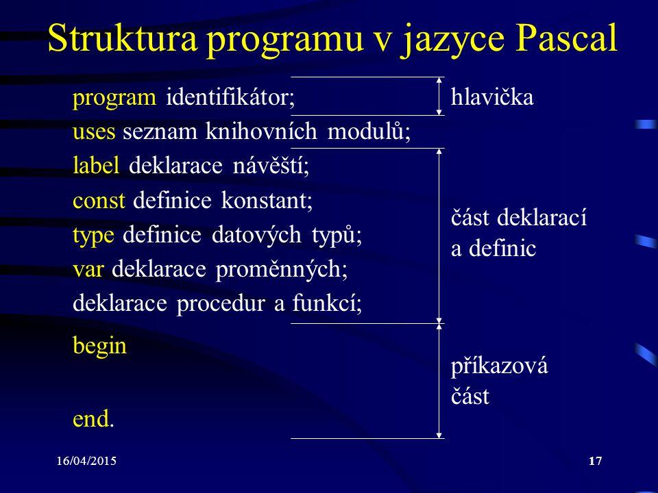 16/04/201517 Struktura programu v jazyce Pascal program identifikátor; uses seznam knihovních modulů; label deklarace návěští; const definice konstant; type definice datových typů; var deklarace proměnných; deklarace procedur a funkcí; begin end.