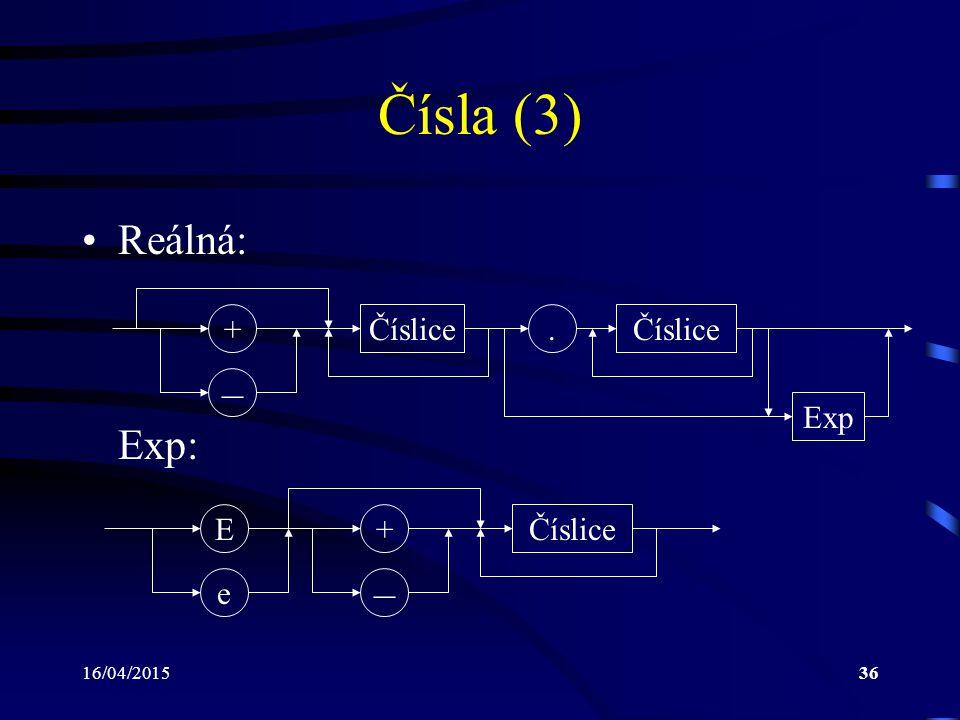 16/04/201536 Čísla (3) Reálná: Exp: Číslice – +. Exp – + e EČíslice