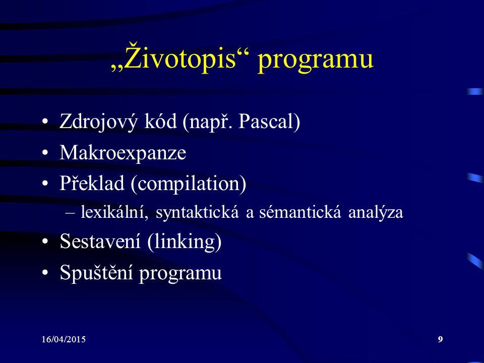 "16/04/20159 ""Životopis programu Zdrojový kód (např."