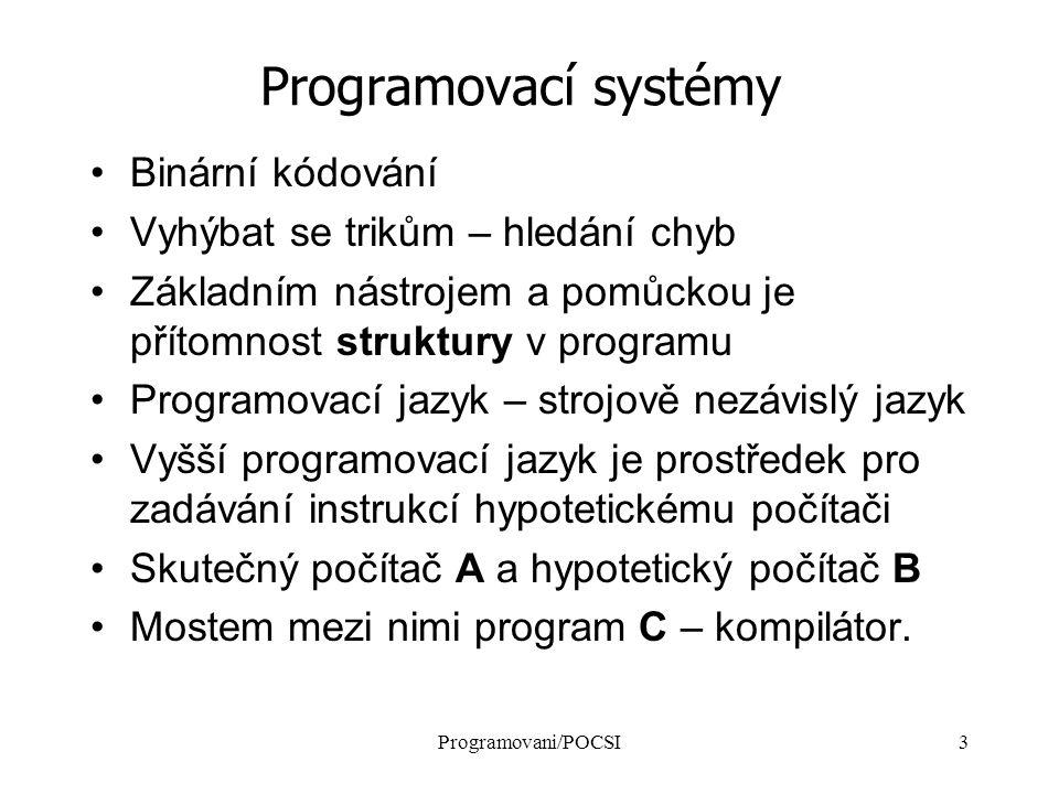 Programovani/POCSI3 Programovací systémy Binární kódování Vyhýbat se trikům – hledání chyb Základním nástrojem a pomůckou je přítomnost struktury v programu Programovací jazyk – strojově nezávislý jazyk Vyšší programovací jazyk je prostředek pro zadávání instrukcí hypotetickému počítači Skutečný počítač A a hypotetický počítač B Mostem mezi nimi program C – kompilátor.