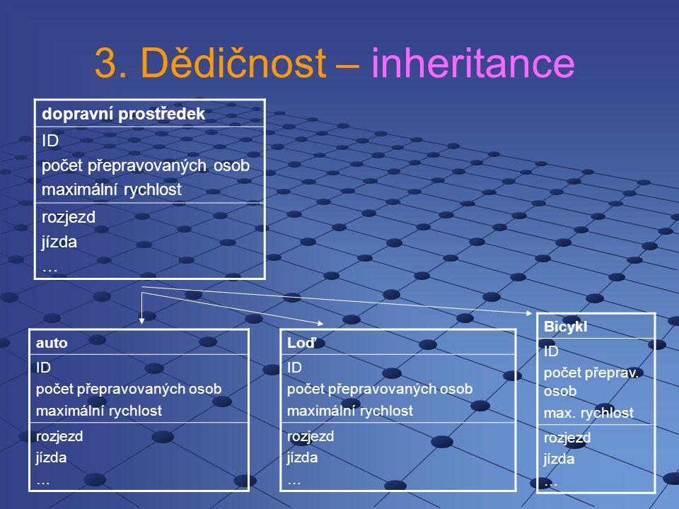 3. Dědičnost – inheritance dopravní prostředek ID počet přepravovaných osob maximální rychlost rozjezd jízda … auto ID počet přepravovaných osob maxim